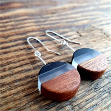 Perspex Wood Earrings Round Black-jewellery-The Vault