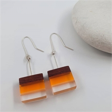 Perspex Wood Earrings Square Yellow-jewellery-The Vault