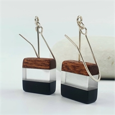 Perspex Wood Earrings Square Black-jewellery-The Vault
