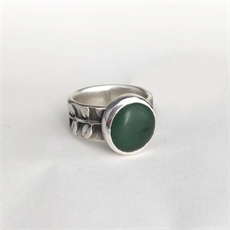 Small Pounamu & Kowhai Ring Silver-jewellery-The Vault