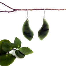 Pounamu Earrings Large Free Flow-jewellery-The Vault