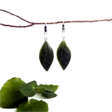 Pounamu Earrings Large Leaf-jewellery-The Vault