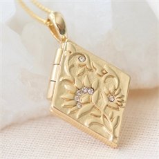 Forget Me Not Locket Gold Plate-jewellery-The Vault