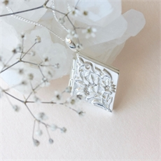 Forget Me Not Locket Silver-jewellery-The Vault