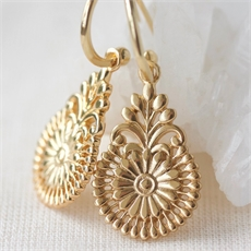 Florish Hoops Gold Plate-jewellery-The Vault