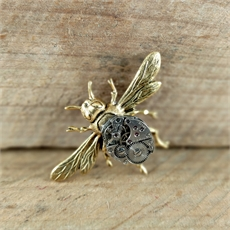 Large Bee Brooch Brass-jewellery-The Vault