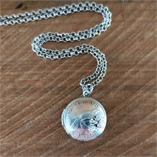 Silver Sixpence Locket w Bee-jewellery-The Vault