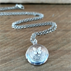 Silver Threepence Locket w Butterfly-jewellery-The Vault