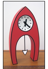 Large Cartoon Clock Pointed - Red w Pend-clocks-The Vault