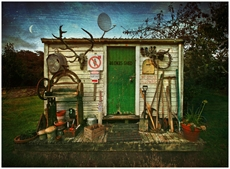 Lucy G - Blokes Shed 60x40cm canvas-fun-stuff-The Vault