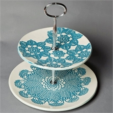 2 Tier Cake Stand - Blue-borrowed-earth-The Vault