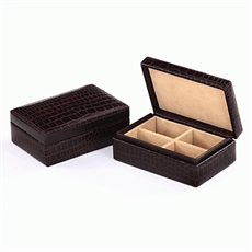 Cuff Links Box Brown Croc-cuff-link-boxes-The Vault