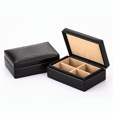 Cuff Links Box Black Croc-cuff-link-boxes-The Vault