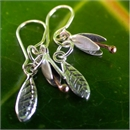 Silver Copper Small Bud & Leaf ER