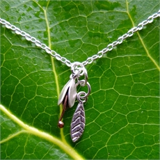 Bud and Leaf Necklace Stg Copper-jewellery-The Vault