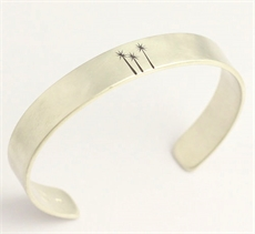 Cabbage Tree Cuff Ash Hilton Silver -bracelets-and-cuffs-The Vault