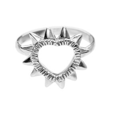 Protect Your Heart Ring Silver Small-rings-The Vault