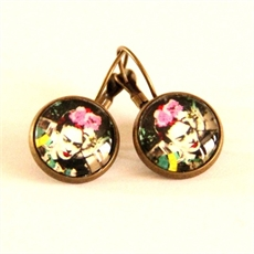 Frida Kahlo Pink Flower Earrings-katy-grace-The Vault