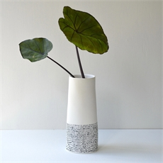 Tall Vase White Top Black Dash Base-renee-boyd-The Vault