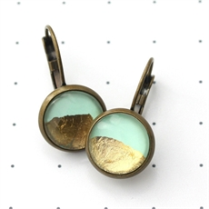 Mint &  Gold Foil Earrings-jewellery-The Vault