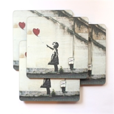Coaster Set of 4 Banksy Girl--home-The Vault