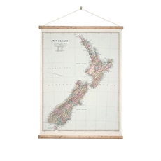 Wall Chart Large Map of NZ-wall-art-and-prints-The Vault
