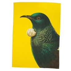 Tea Towel Tui Yellow-artists-and-brands-The Vault