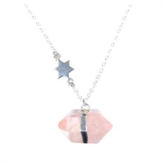 Nugget Necklace Star Long Rose Quartz-pam-kerr-The Vault