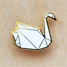 Origami Swan Brooch -brooches-The Vault