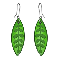 Glass Kowhai Leaf Earrings Green-jewellery-The Vault
