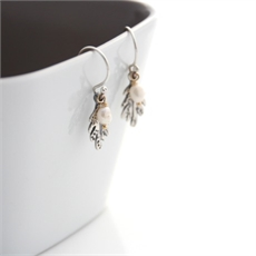 Leaf Drop Earrings Stg Freshwater Pearl-jewellery-The Vault