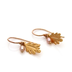 Leaf Drop Earrings Gold Freshwater Pearl-louise-douglas-The Vault