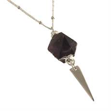 Freeform Necklace Amethyst Short -necklaces-The Vault