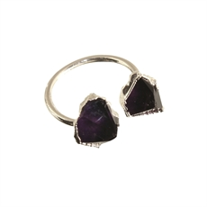 Freeform Ring Amethyst Silver Plated-rings-The Vault