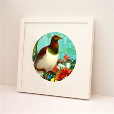 Framed Print Round Botanical Kereru-wall-art-and-prints-The Vault