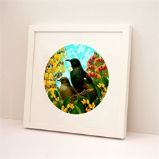 Framed Print Round Botanical Tui-wall-art-and-prints-The Vault