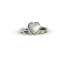 Mini Ring Mother of Pearl Heart-nick-von-k-The Vault