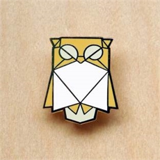 Origami Brooch Owl-jewellery-The Vault
