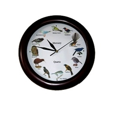New Zealand Birdsong Clock Dark Wood -clocks-The Vault