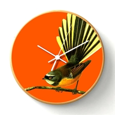 Bright Fantail Wooden Frame Clock-artists-The Vault