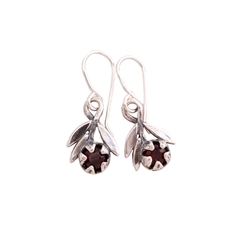 Red Manuka Sprig Garnet Earrings-jewellery-The Vault