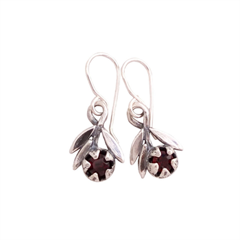 Red Manuka Sprig Garnet Earrings