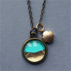 Petite Turquoise & Gold Foil Necklace-jewellery-The Vault