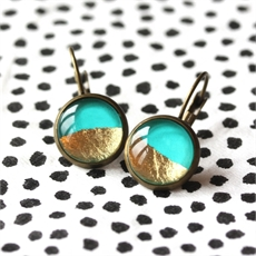 Turquoise & Gold Foil Earrings-earrings-The Vault