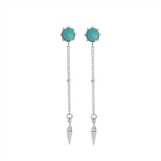 Stud Chain Drop Earrings Turquoise-earrings-The Vault