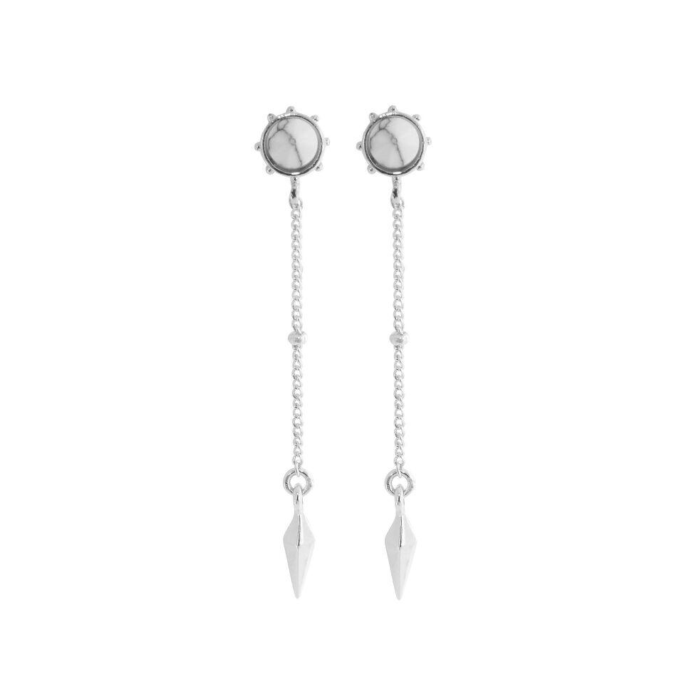 Stud Chain Drop Earrings White Howlite Jewellery View