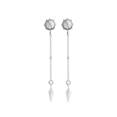 Stud Chain Drop Earrings White Howlite-earrings-The Vault