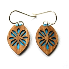 Laser Veneer Earrings Frangipani Teal-earrings-The Vault