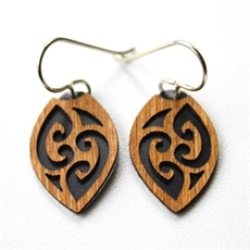 Laser Veneer Earrings Tribal Black-earrings-The Vault