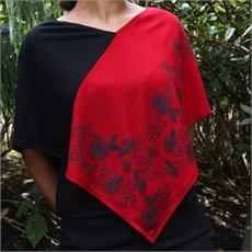Merino Poncho Lge Koru Pohutukawa Ruby-clothing-and-accessories-The Vault